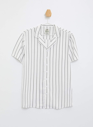 DeFacto Çizgili Slim Fit Gömlek Beyaz
